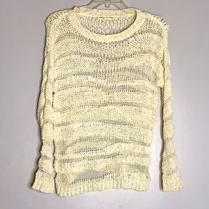 Staring at stars open hole weave pullover bone wht